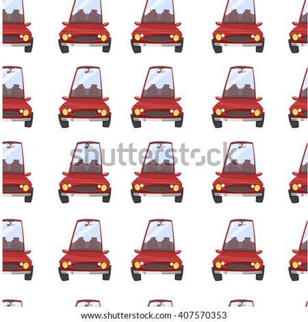 Repeating pattern background with red cars. Vector