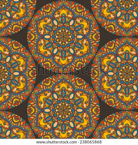 repeating pattern with colorful symmetric round ornament - stock vector