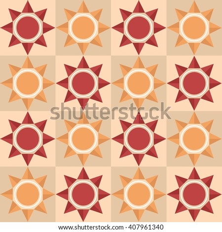 repeating pattern with sun native indian style - stock vector