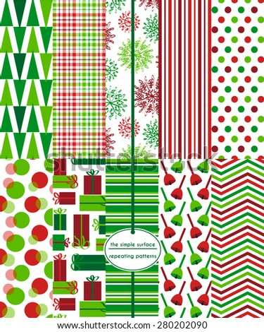 Repeating patterns for digital paper, scrapbooking, cards, invitations and paper backgrounds.  File includes: tree, gift, snowflake and bell prints, plaid, stripes, circles, polka dots and chevron.