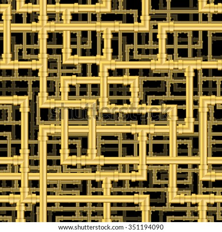 Repeating pipework steam punk maze. Tileable vector wallpaper that repeats left, right, up and down - stock vector