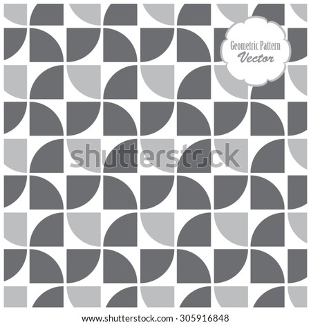 repeating quarter circle pattern, geometric pattern - stock vector