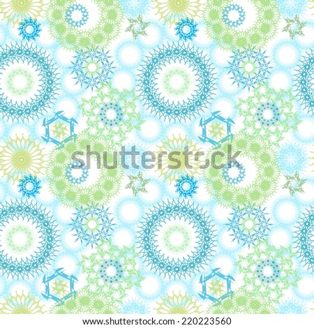 Repeating, seamless pattern of random circle patterns, pretty, blue and green design. - stock vector