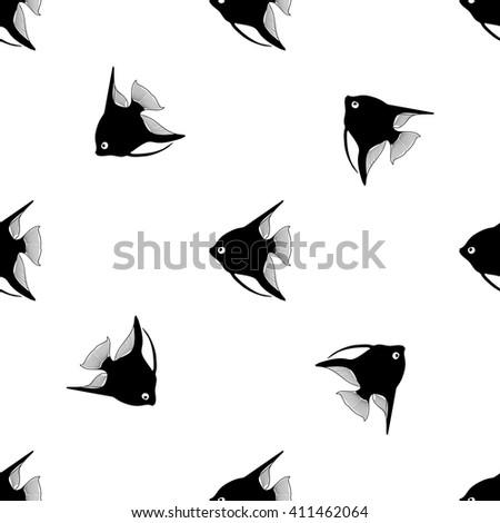 Repeating vector  pattern with aquarium fish angelfish  - stock vector