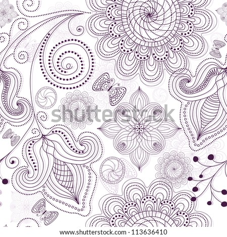 Repeating white floral pattern with carved flowers and butterflies (vector) - stock vector