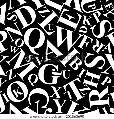 Repetitive pattern made of alphabet letters vector - stock vector