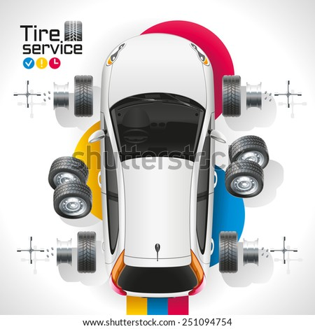 Replacing the tires on a car repair shop - stock vector