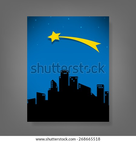 report comet and stars fo the city, vector illustration - stock vector