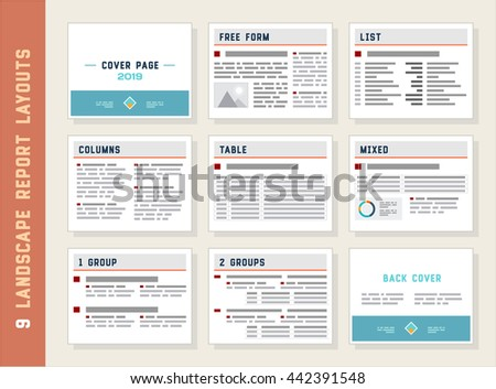 Report Layouts, Document Templates, Landscape Orientation, Vector Set - stock vector
