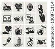 Reporter. Set of icons vector - stock vector