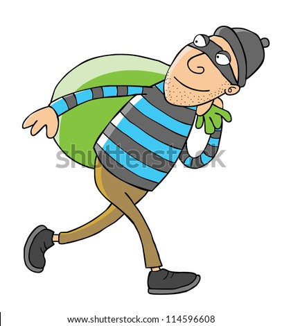 Represent a thief carries a bag full of goods. - stock vector