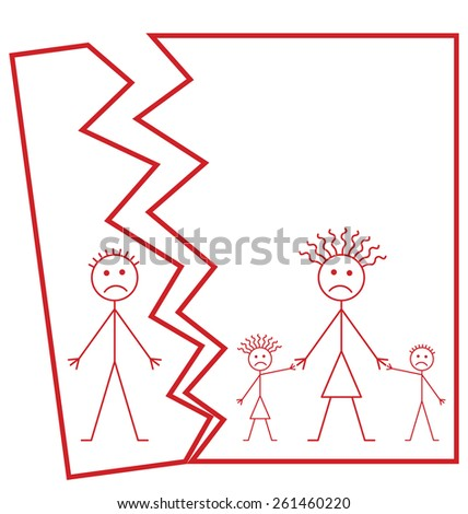 Representation of family marriage break up or family divorce isolated on white background with copy space for own text - stock vector