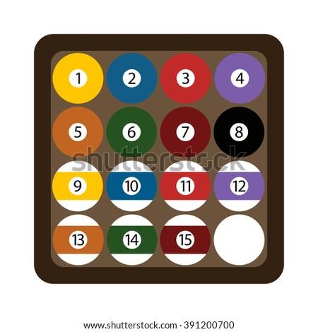 Represents numbered balls of billiard and billiard balls isolated on white. Pool billiard balls rack commonly used starting position flat vector illustration.  - stock vector