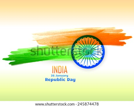 republic day design celebrated on 26 january made with color strokes vector design - stock vector
