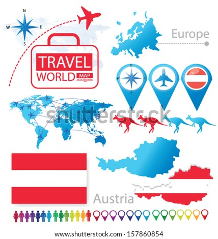 Republic of Austria. flag. World Map. Travel vector Illustration. - stock vector