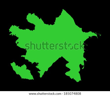 Republic of Azerbaijan -green vector map isolated on black background. High detailed illustration.  - stock vector