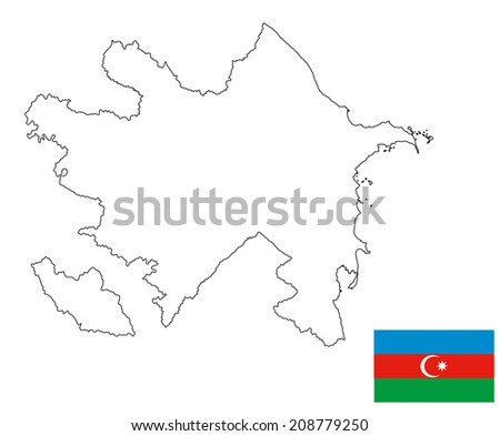 Republic of Azerbaijan - vector map and vector flag isolated on white background. High detailed illustration.  - stock vector