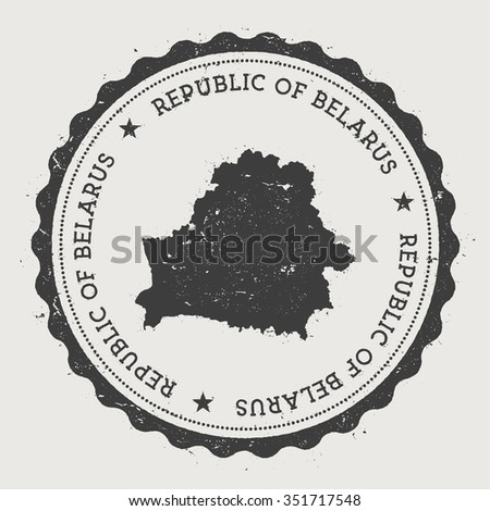 Republic of Belarus. Hipster round rubber stamp with Belarus map. Vintage passport stamp with circular text and stars, vector illustration - stock vector