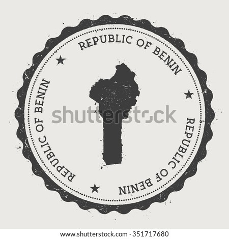 Republic of Benin. Hipster round rubber stamp with Benin map. Vintage passport stamp with circular text and stars, vector illustration - stock vector