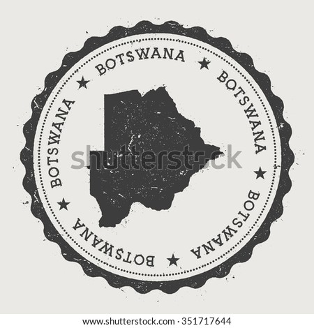 Republic of Botswana. Hipster round rubber stamp with Botswana map. Vintage passport stamp with circular text and stars, vector illustration - stock vector