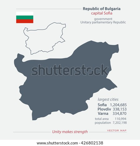 Republic of Bulgaria isolated maps and official flag icon. vector Bulgarian political map icons with general information. European State geographic banner template. travel and business concept map - stock vector