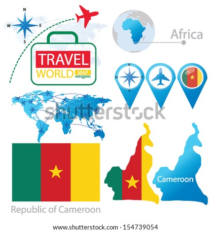 Republic of Cameroon. flag. World Map. Travel vector Illustration. - stock vector