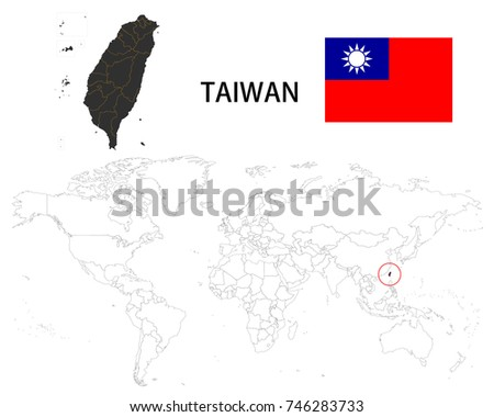 Republic chinataiwan map on world map stock vector 746283733 republic of chinataiwan map on a world map with flag on white background gumiabroncs Images
