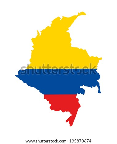 Republic of Colombia vector map isolated on white background. High detailed silhouette illustration. Map filled with Colombian flag colors. - stock vector