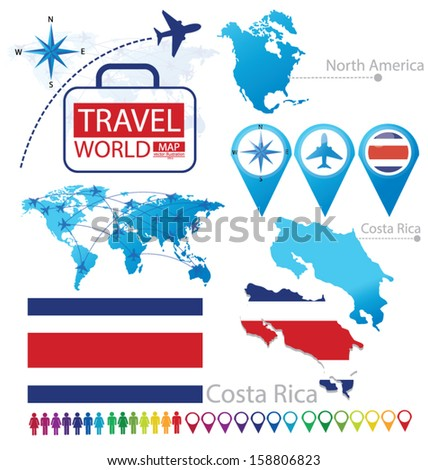 Republic of Costa Rica. flag. North america. World Map. Travel vector Illustration.