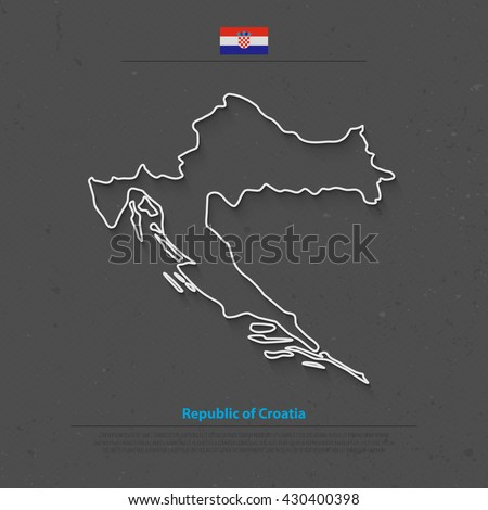 Republic of Croatia isolated map and official flag icons. vector Croatian political map outline. Balkans country geographic banner template. vector Croatia maps - stock vector