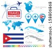 Republic of Cuba. flag. North america. World Map. Travel vector Illustration. - stock