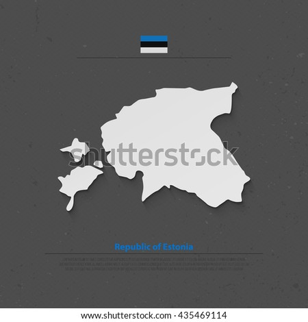 Republic of Estonia isolated map and official flag icons. vector Estonian political map 3d illustration over gray paper background. European Union country geographic banner design - stock vector