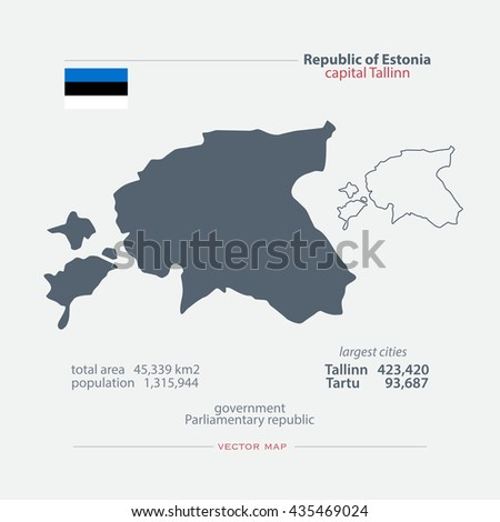 Republic of Estonia isolated maps and official flag icon. vector Estonian political map icons and general information. Northern Europe State geographic banner design - stock vector