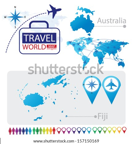 Republic fiji australia world map travel stock vector 157150169 republic of fiji australia world map travel vector illustration gumiabroncs Gallery