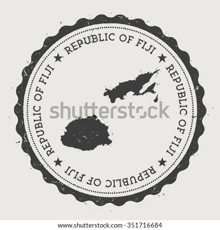 Republic of Fiji. Hipster round rubber stamp with Fiji map. Vintage passport stamp with circular text and stars, vector illustration - stock vector