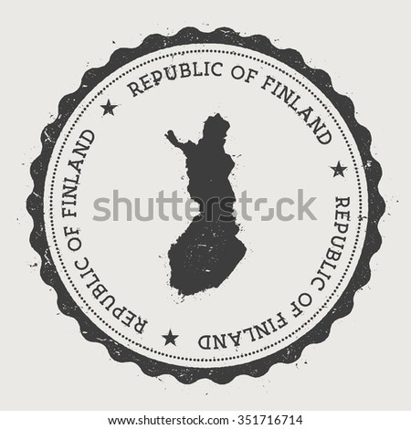 Republic of Finland. Hipster round rubber stamp with Finland map. Vintage passport stamp with circular text and stars, vector illustration - stock vector