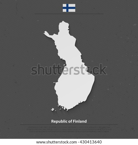Republic of Finland isolated map and official flag icons. vector Finnish political map 3d illustration. Suomi geographic banner template. travel and business concept map. vector Finland maps - stock vector