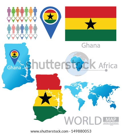 Republic ghana flag world map vector stock vector 149880053 republic of ghana flag world map vector illustration gumiabroncs Choice Image