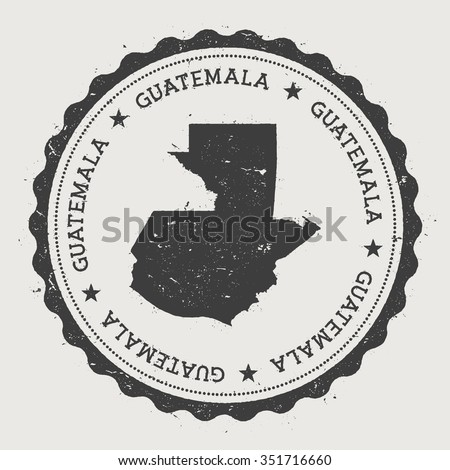Republic of Guatemala. Hipster round rubber stamp with Guatemala map. Vintage passport stamp with circular text and stars, vector illustration - stock vector