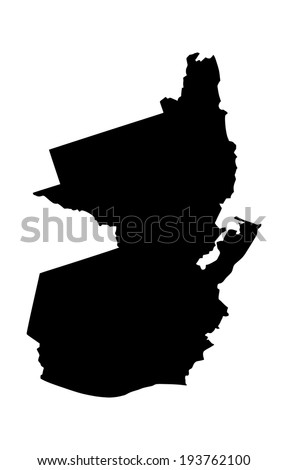 Republic of Guatemala vector map  isolated on white background. High detailed silhouette illustration.