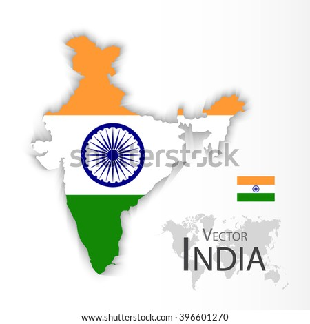 Republic of India ( flag and map ) ( transportation and tourism concept ) - stock vector