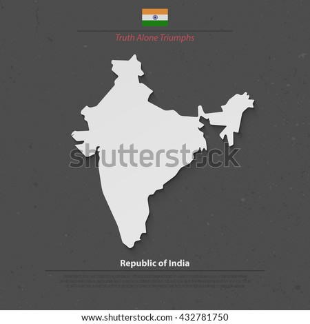 Republic of India isolated map and official flag icons. vector Indian political map 3d illustration. South Asia country geographic banner design. travel and business concept map. vector India maps - stock vector