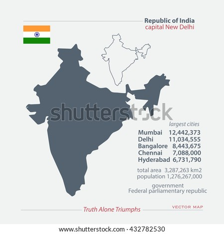 Republic of India isolated maps and official flag icon. vector Indian political map icons with general information. South Asia country geographic banner template. travel business concept vector maps - stock vector