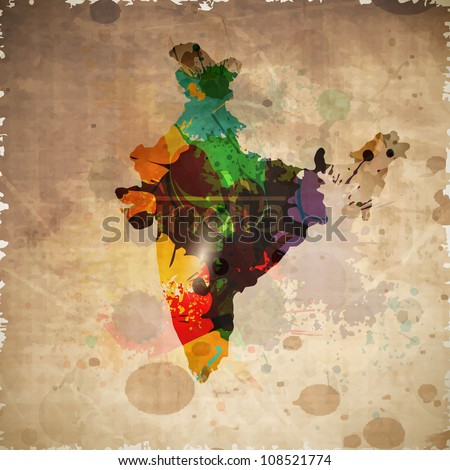 Republic of India map on grungy brown background. EPS 10. - stock vector