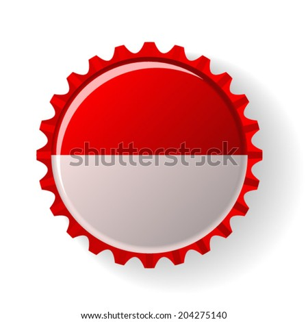 Republic of Indonesia on bottle caps - stock vector