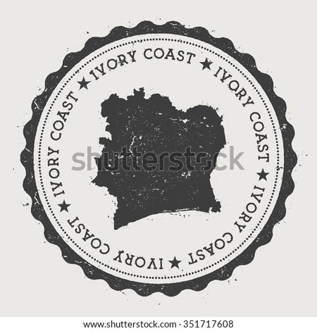 Republic of Ivory Coast. Hipster round rubber stamp with Ivory Coast map. Vintage passport stamp with circular text and stars, vector illustration - stock vector