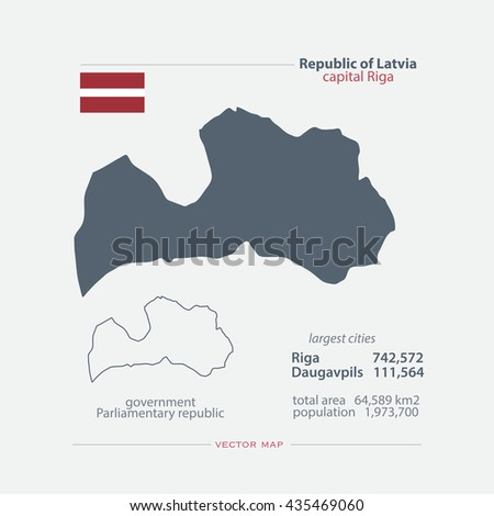 Republic of Latvia isolated maps and official flag icon. vector Latvian political map icons and general information. European country geographic banner template - stock vector