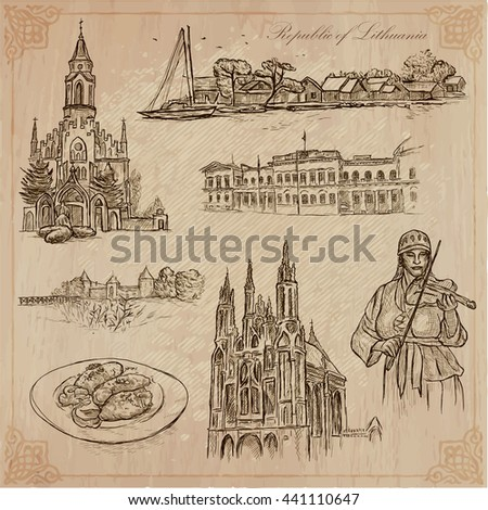 Republic of LITHUANIA. Travel collection. Pictures of Life. Hand drawn vector. Illustrations are editable by layers. All things are named inside the vector.