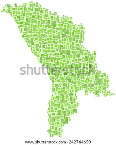 Republic of Moldova in a mosaic of green squares - stock vector
