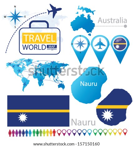 Republic of Nauru. Australia. flag. World Map. Travel vector Illustration. - stock vector